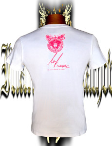 Victory Medusa. Fluo pink/yellow. screen print. Stretch cotton.Back side