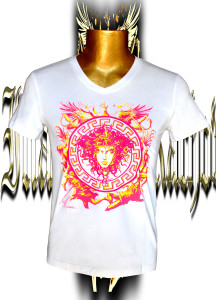 Victory Medusa. Fluo pink/yellow. screen print. Stretch cotton.Front