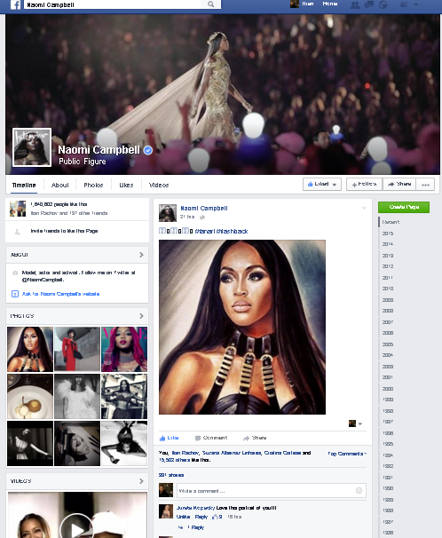 Naomi Campbell entire fbpage