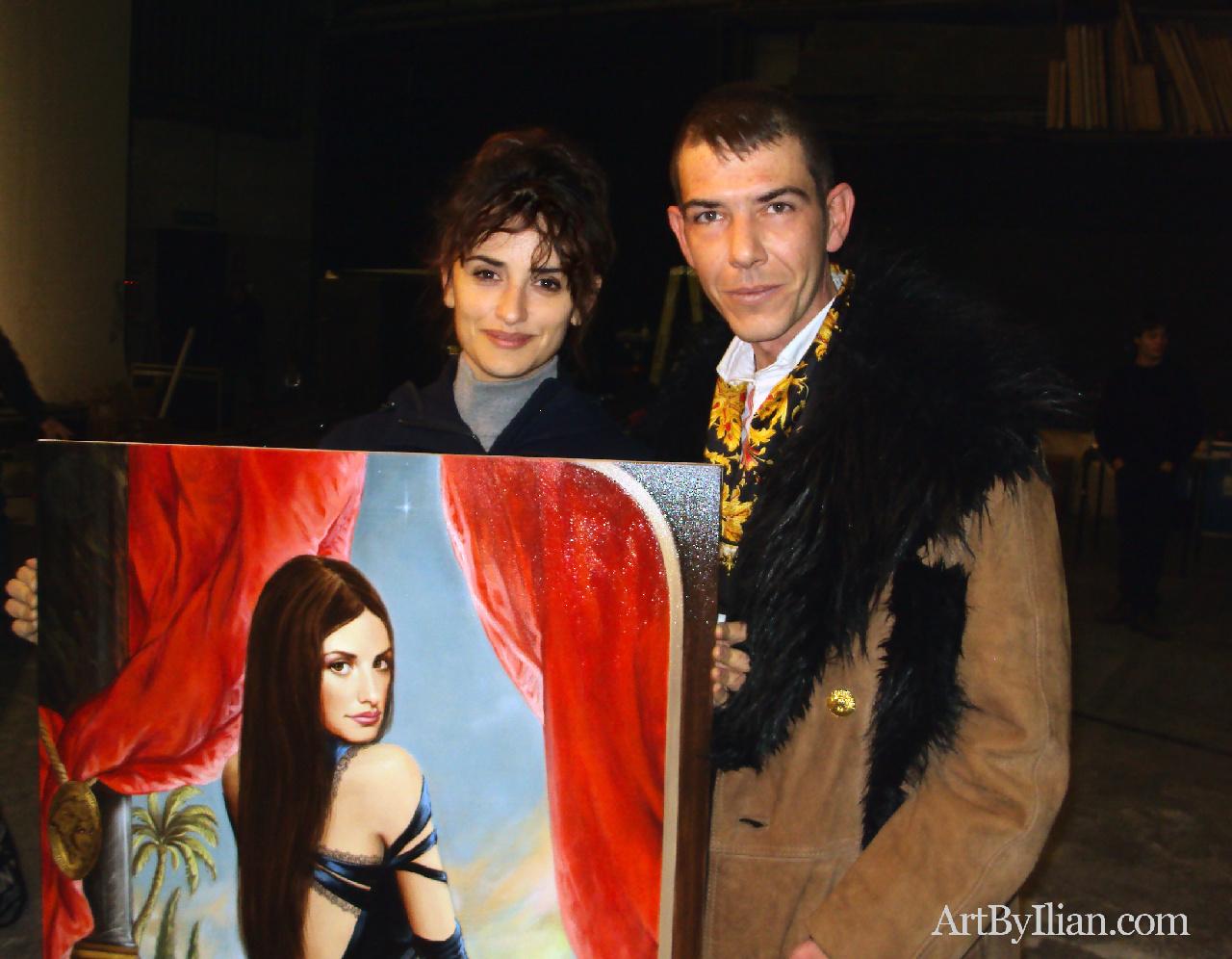 The artist Ilian Rachov and Penelope Cruz