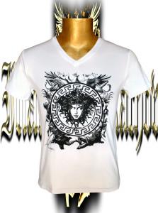 Victory Medusa. Black/grey screen print. Stretch cotton.