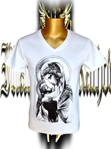 Madonna with Child. Black/grey screen print .Stretch cotton .V-neck .Unisex.