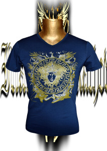 Victory Medusa. Gold/silver screen print. Stretch cotton.Front.