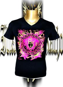 Medusa. Fluo pink/yellow screen print .Stretch cotton .V-neck .Unisex.